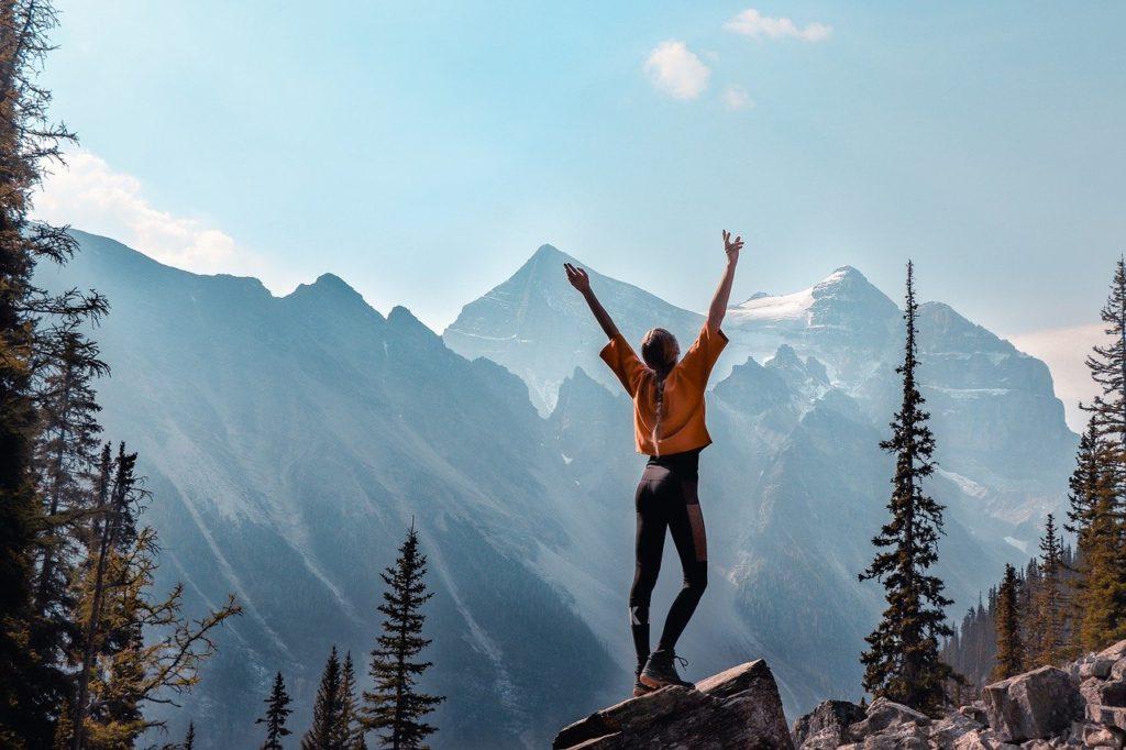 mountains, canada, girl